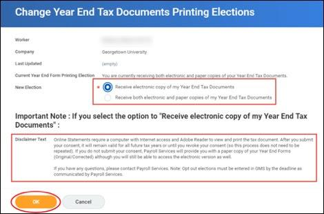 "If you would like to opt out of receiving a paper copy of your W-2, click the radio button that states, ""Receive electronic copy of my Year End Tax Documents"". Then, read the disclaimer text and, if acceptable, click OK."
